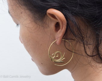 Wina Brass Earrings, Tribal Brass Earrings, Medium Hoop Earrings.