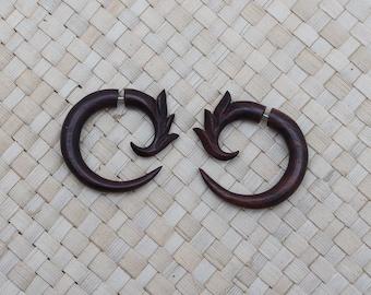 Wood Spike Circle Fake Gauge Earrings, Small Wooden Fake Gauge Earrings