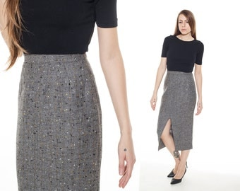 1970's vintage grey boucle wool ankle length skirt size small