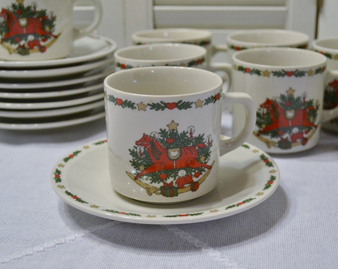 Vintage O Christmas Tree Cup and Saucer Set of 8 Holiday Dinnerware Ten Strawberry St 1987 PanchosPorch