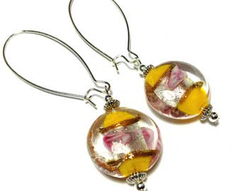 Long Silver Yellow & Pink Glass Bead Earrings - Very Long Kidney Wires (ET18-12)