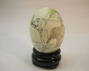 Asian Hand Painted Eggs Real Shells  Elephants Painted Display Vintage  #Egg63