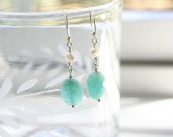 Dangle Earrings, Drop Earrings, Green Amazonite and Freshwater Pearl, Simple Earrings, Minimalist, Boho, Fresh Earrings, StudioAtPennyLane