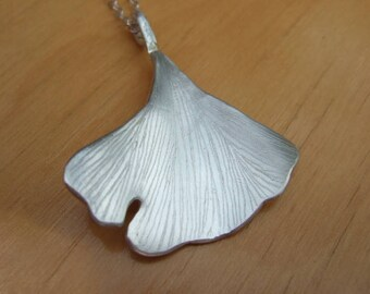 Large Sterling Silver Ginkgo Leaf Pendant Necklace , Simple, Modern, Everyday Wear