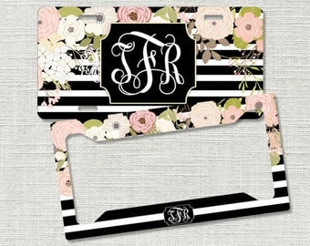 monogrammed car tag monogram license plate frame floral stripes monogram car tag personalized car tag mothers day gifts for her 9301