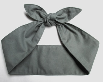Pinup Rockabilly Headband Head Scarf Hair Wrap solid gray grey  Cotton charcoal cotton
