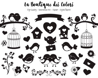 Valentine's Day Birds Silhouette Clipart, Cute Digital Graphics PNG and, Love Birds Clip art, Bird House, Bird Cage, Hearts Clip Art