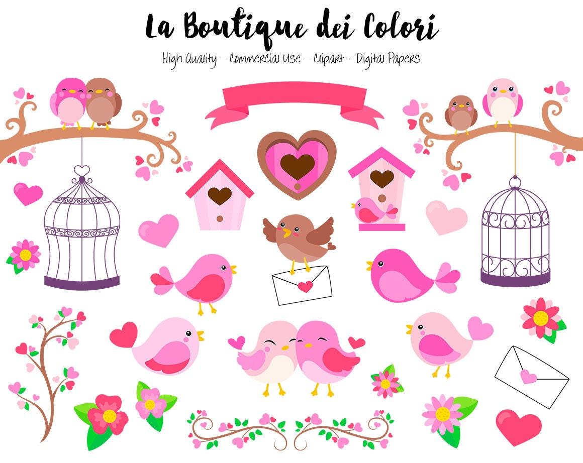 Pink Valentine's Day Birds Clipart, Cute Digital Graphics ...