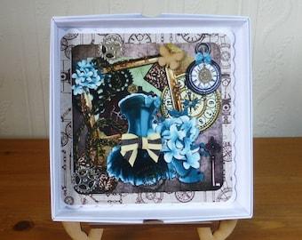Steampunk Pretty Dress Boxed Ladies Birthday Card