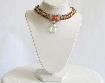 Sandstone Jade and coraline crystal pendant choker
