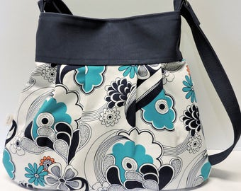 New - Conceal Carry Slouchy Hobo Bag/Teal, Navy and White Tote/CCW Purse/Flowery
