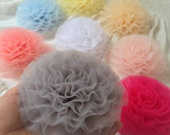 """Soft Ruffled Tulle Lace Trim 2"""" Wide Pleated Lace Trim for Tutu Dress, Wedding Cake, Flower Trim, Sewing"""