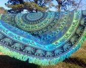Floral Elephant MandalaTapestry Round Beach Towel Roundie Boho Hippie Throw Gypsy Blanket Wedding springbreak Van Life Glamping Festival