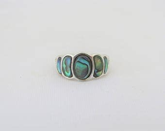 Vintage Sterling Silver Inlay Abalon Ring Size 5.5