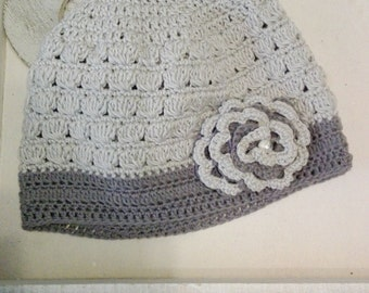 Girl Hat Crocheted Beanie Hat with Flower
