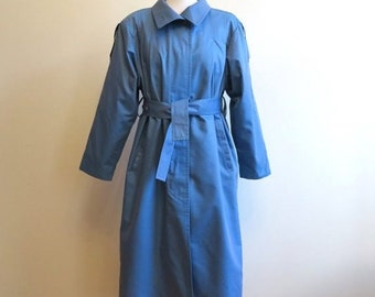LONDON Fog Blue Trench Coat with Removable Wool Blend Lining Belted Raincoat Medium to Large Size
