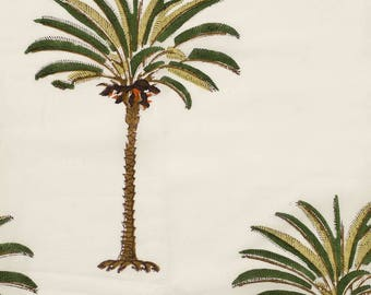 COTTON FABRIC DESIGN 24 - Block printed with Single Palm Tree