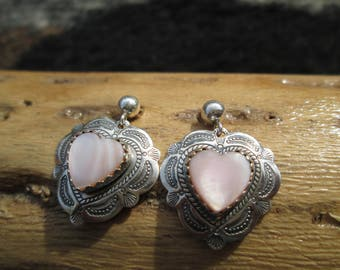 Mother of Pearl and Sterling Heart Post Dangle Earrings