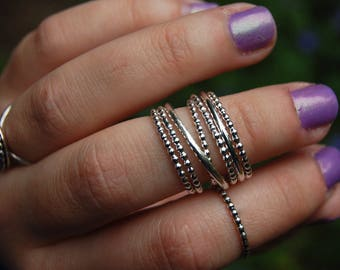 Beaded Sterling Stacking Ring