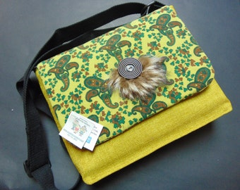 Shoulder bag adjustable rococo style fabric recycled