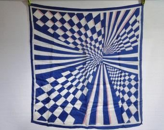 """Vintage Mariella Mod scarf geometric  Silk hand rolled 67cm x 71cm / 26.3"""" x 27.9"""""""