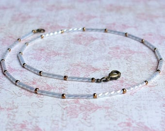Seed Bead Choker, White Seed Bead Necklace, White Choker, Beaded Necklace, Dainty Necklace, Simple Necklace, Minimalist Bead Necklace