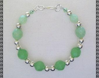 green bracelet, green opal, light green bracelet, opal green, silver