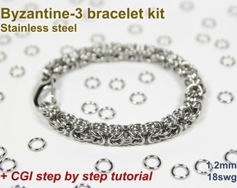 Byzantine-3 Bracelet Kit, Chainmaille Kit, Stainless Steel, Byzantine Tutorial, Jump Rings, Chainmail Bracelet Kit, Chainmaille Tutorial