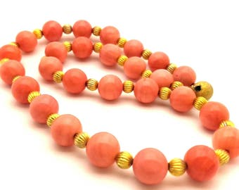 Pink Salmon Coral Color Round Porcelain Beads Handmade Women Necklace Charming