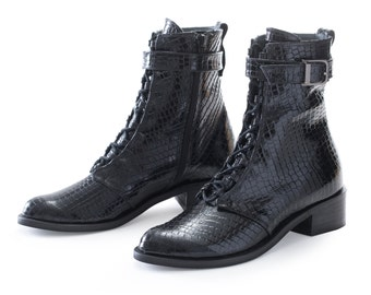 30% SALE - Leather Boots, Rain Boots, Black Biker Boots, Flat Army Boots, Ankle Boots, Leather Combat Boots, Lace Up Boots, Rocker Boots