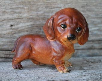 Sad Eyed Ceramic Dachshund Dog Figurine - Made in Japan - A73