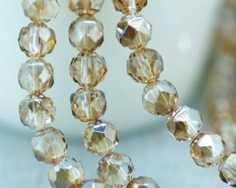 Czech Glass Beads, Crystal Beige Celsian 6mm Faceted Round Renaissance Bead x 25