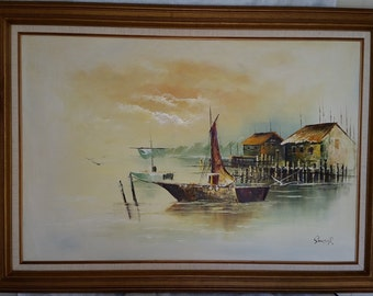 Beautiful Oil on Canvas Harbor Scene Painting by Sando R