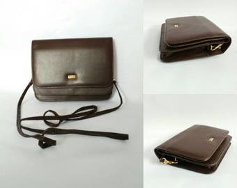 Buxton 1980's vintage bag small bag brown real leather crossbody bag shoulder bag oraganizer clutch bag ladies bag