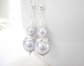 Lavender Swarovski Crystal Pearl Earrings, Beaded Drop Earrings, Light Purple Bridal Earrings, Wedding Jewelry, Pearl Dangle Earrings