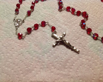 Vintage rosary beads- silver metal crucifix and red crystal beads
