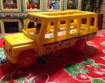 Vintage Fisher Price pull toy school bus