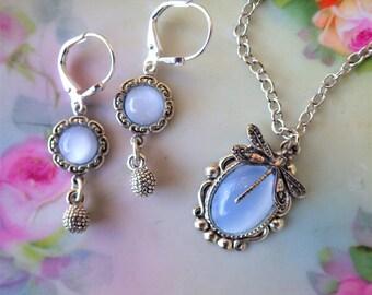 Blue Moonstone Pendant ~ Vintage Glass ~ SILVER ~ Dragonfly Jewelry ~ Art Nouveau ~ SET Option ~  by LadyoftheLakesJewels
