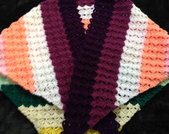 Rainbow Shawl Wrap, Colourful Shawl Wrap, Fashion Shawl Wrap, Triangle Shawl, Rainbow Shawlette, Colourful Shawlette, Hippie Shawl