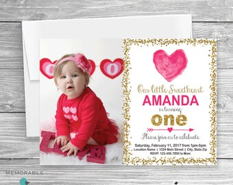 Valentines Birthday Invitation with picture, Heart Birthday Invitation, Valentine Birthday, Valentine Invitation, First Birthday Invitation