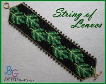 STRING OF LEAVES Peyote Cuff Bracelet Pattern