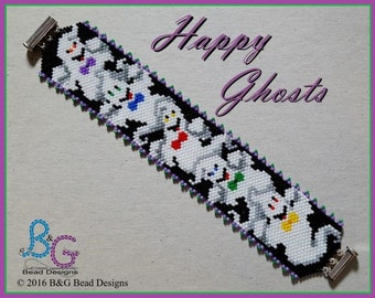 HAPPY GHOSTS Peyote Cuff Bracelet Pattern