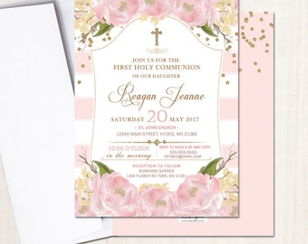 First Communion Invitation Floral Pink And Gold Invite Pink Peony Baptism Party Invite Printed Or Printable File Free Shipping Ifc0002