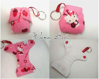 Basic Cloth Diaper Keychain Hello Kitty diaper ornament, Valentine Diaper key chain diaper key fob