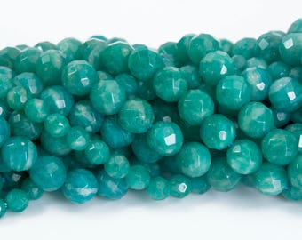 faceted Russian amazonite beads - green precious stone jewelry beads - natural gemstone jewelry suspplies - faceted round beads -15 inch