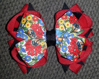Red Black Flower Handmade Stacked Boutique Bow