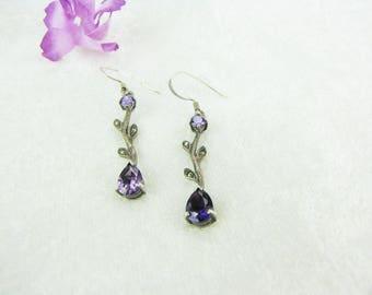 Sterling Silver Earrings Amethyst Earrings  Marcasite Leaf Flower Earrings Dangle Drop Earrings Mother's Day Gifts For Her