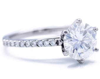 Charles & Colvard Forever ONE Near Colorless Round Moissanite 6 Prongs Diamond Accent Ice Cathedral Solitaire Ring