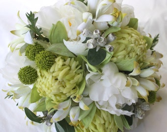 Native Bridal Bouquet with Peonies, Waratahs, Flannel Flowers, Eucalyptus Gum Nuts, Billy Buttons.  Bride's Bouquet with groom's Buttonhole