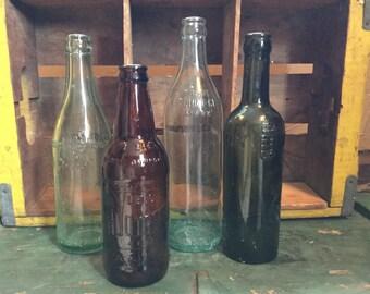 4 vintage soda/beer bottles- Kristaly/Cliquot/IBC/Rubsam&Horrmann